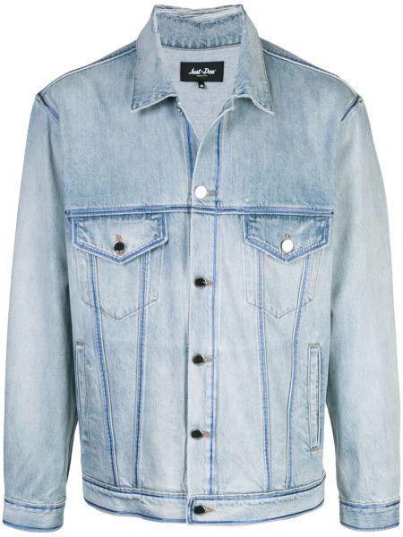 Niebieska kurtka bawełniana z printem Just Don