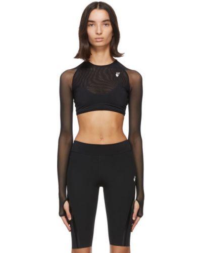 Nylon czarny top sportowy z kołnierzem rozciągać Off-white