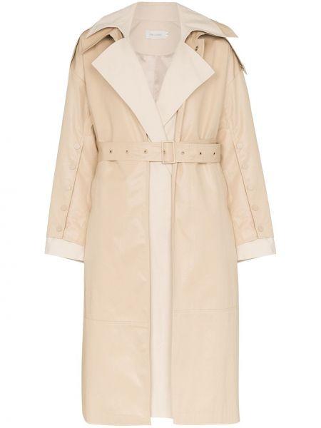 Хлопковый пальто классическое с поясом с лацканами Low Classic