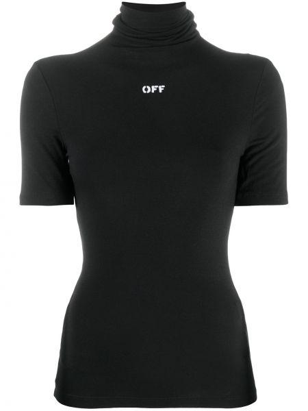 Czarny kaszmir wyposażone koszula z krótkim rękawem krótkie rękawy Off-white