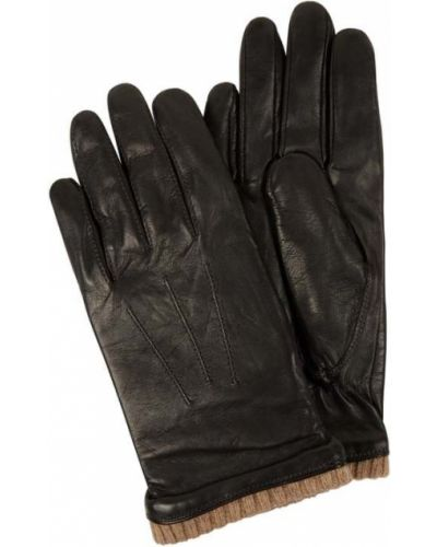 Prążkowane brązowe rękawiczki skorzane Eem-fashion
