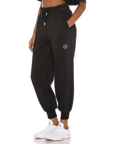 Prążkowane czarne joggery bawełniane Adidas By Stella Mccartney