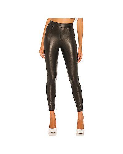 Кожаные черные брюки стрейч Spanx