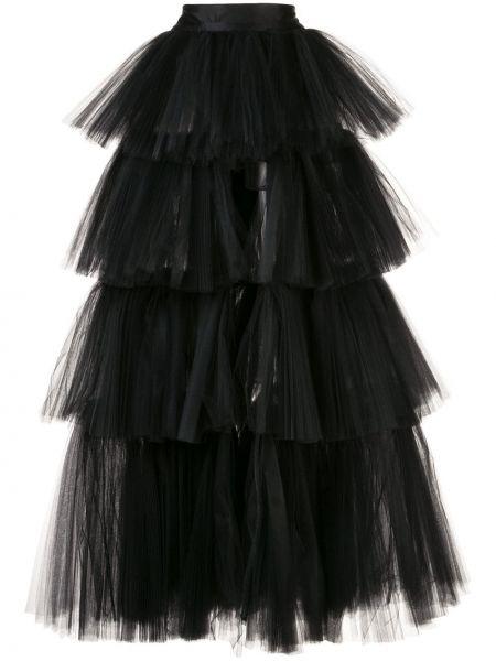 Ażurowa czarna spódnica maxi z wysokim stanem Oscar De La Renta