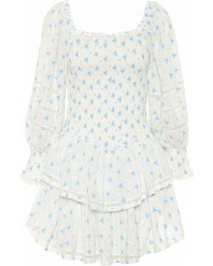 Ватное хлопковое белое платье мини Loveshackfancy