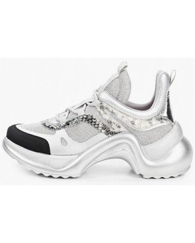 Серебряные кожаные кроссовки Just Couture
