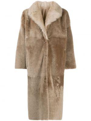 С рукавами однобортное кожаное пальто двустороннее из овчины Liska