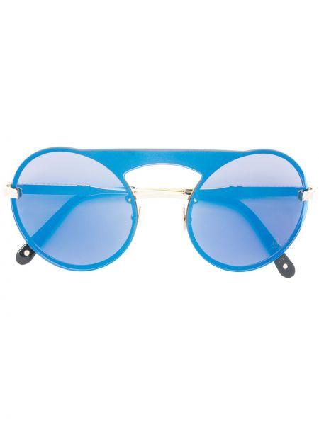 Złote niebieskie okulary Philipp Plein