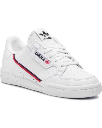 Białe kozaki skorzane sznurowane Adidas