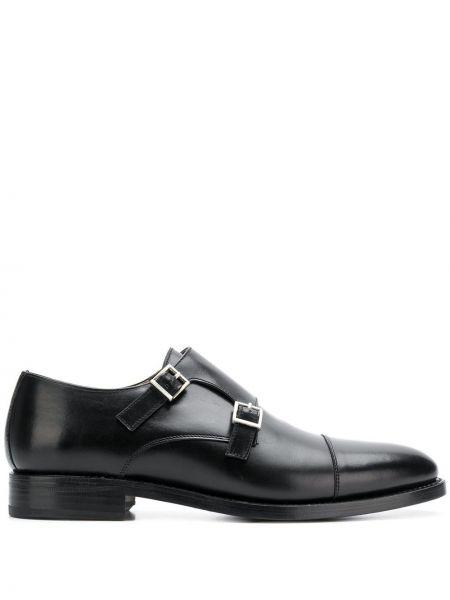 Черные кожаные туфли с пряжкой на каблуке круглые Berwick Shoes