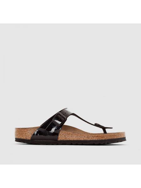 Туфли на каблуке кожаные с открытой пяткой Birkenstock