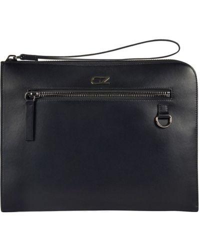 Czarny skórzana torba z kieszeniami metal Giuseppe Zanotti