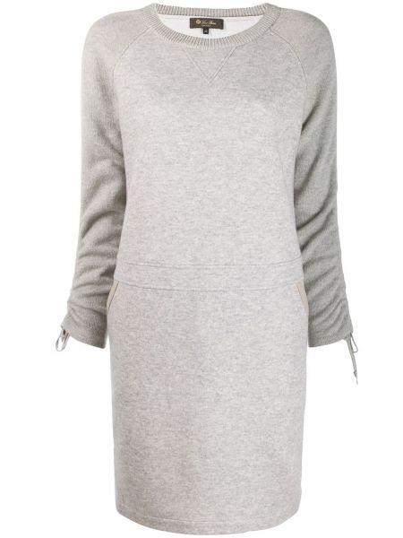 С рукавами серое кожаное платье макси Loro Piana