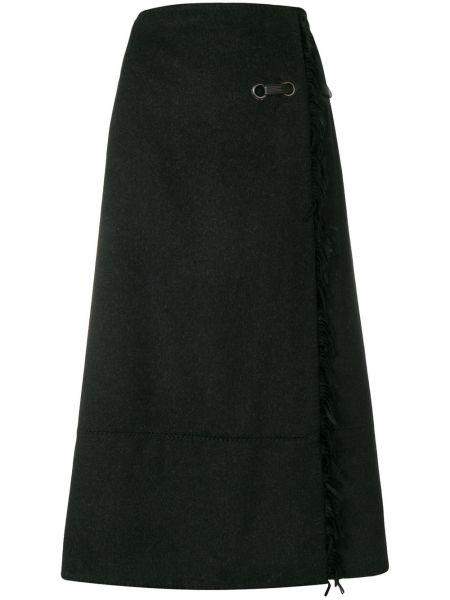 Юбка миди с запахом с бахромой винтажная в рубчик Paco Rabanne Pre-owned