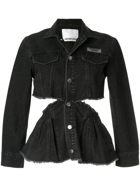 Приталенная черная джинсовая куртка с вышивкой Ground Zero