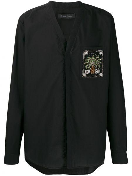 Czarna koszula bawełniana z haftem Christian Pellizzari