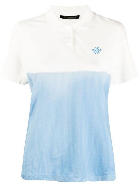 Хлопковый синий топ с вышивкой с воротником Mr & Mrs Italy