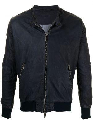 Niebieska długa kurtka skórzana z długimi rękawami Giorgio Brato