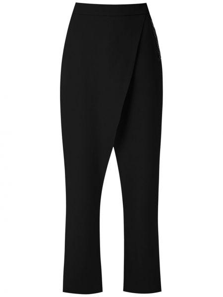 Черные брюки с запахом с высокой посадкой из вискозы Uma   Raquel Davidowicz