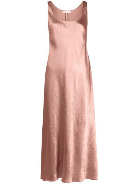 Расклешенное розовое платье металлическое круглое Vince.