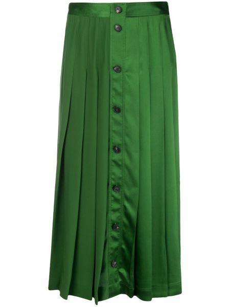 Шелковая плиссированная юбка на пуговицах Victoria Beckham