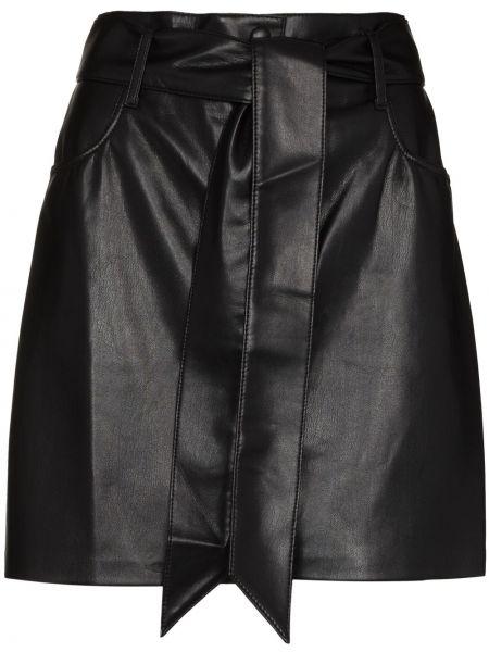 Кожаная юбка мини - черная Nanushka
