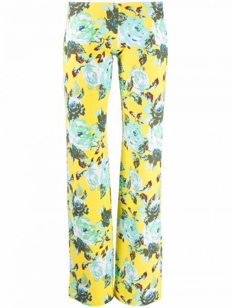 Zielone legginsy w kwiaty z printem Fisico