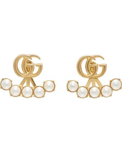 Серьги с жемчугом - золотые Gucci