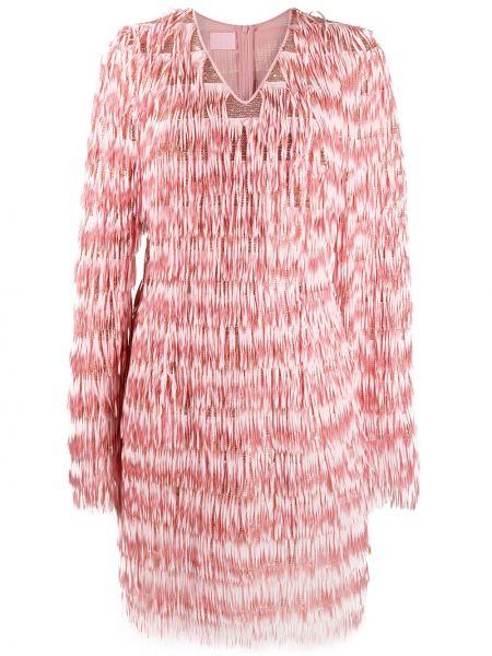Różowa sukienka długa z długimi rękawami z dekoltem w serek Giamba