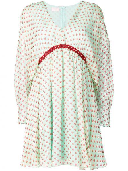 Zielona sukienka mini z długimi rękawami z jedwabiu Giamba