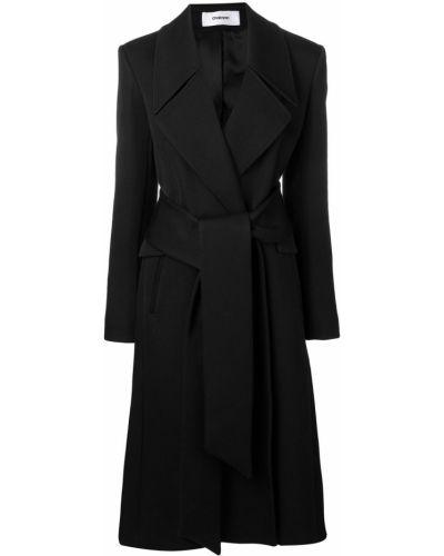 Черное длинное пальто с капюшоном Chalayan