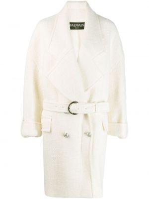 Шерстяное белое пальто с капюшоном Balmain