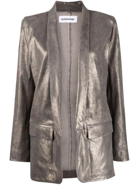 Серый кожаный пиджак с карманами Sylvie Schimmel