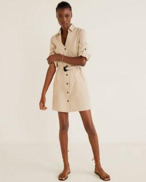 Платье макси с вышивкой в полоску Mango