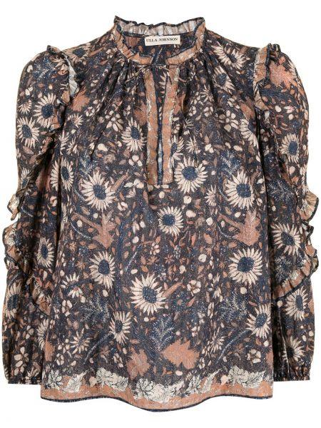 Niebieska bluzka z długimi rękawami bawełniana Ulla Johnson