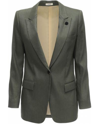 Зеленый льняной пиджак с карманами Lardini