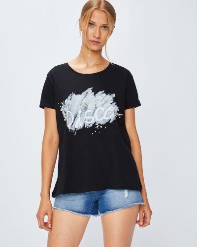 Футбольная черная футболка со стразами Miss Poem