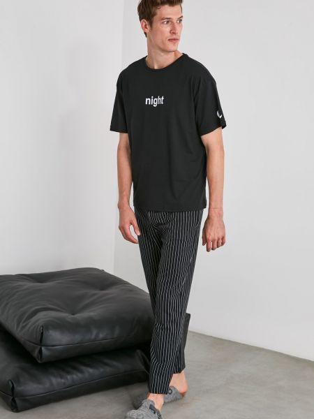 Piżama bawełniana - czarna Trendyol