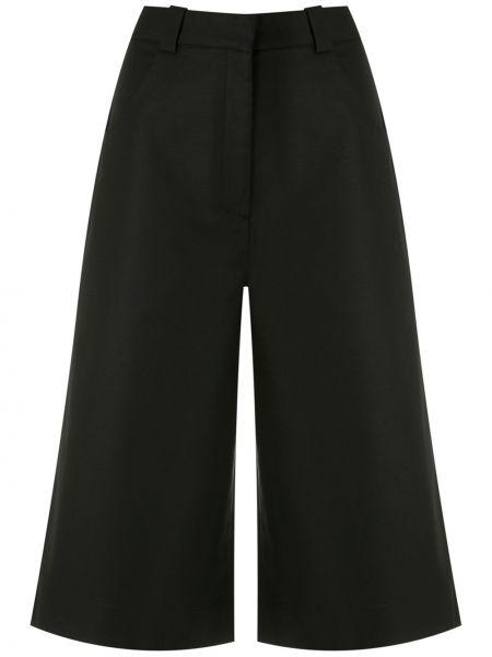 Черные с завышенной талией бермуды с карманами Andrea Marques
