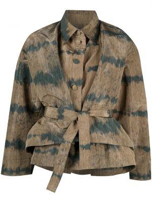 Зеленый классический пиджак с поясом с воротником Henrik Vibskov