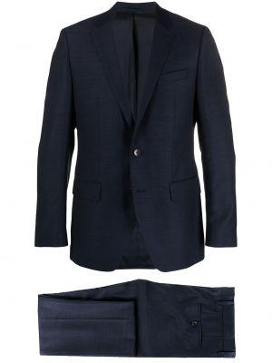 Niebieski garnitur wełniany z paskiem Boss