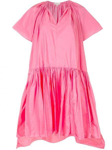 Różowa sukienka mini krótki rękaw z dekoltem w serek Delpozo