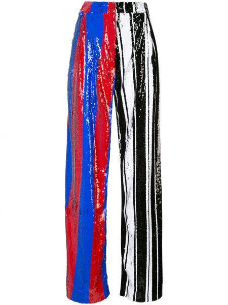 Spodnie z wysokim stanem w paski z haftem Halpern