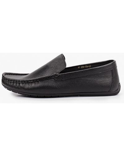Черные кожаные мокасины Valser