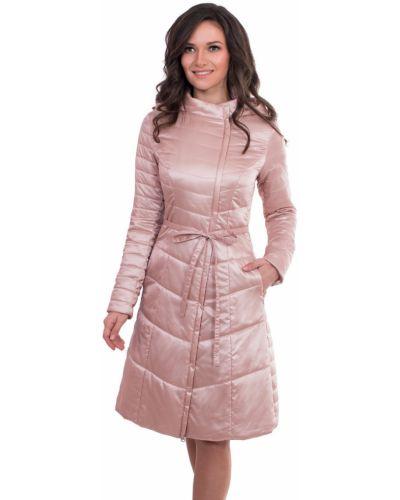 Пальто с капюшоном демисезонное с воротником-стойкой расклешенное J-splash