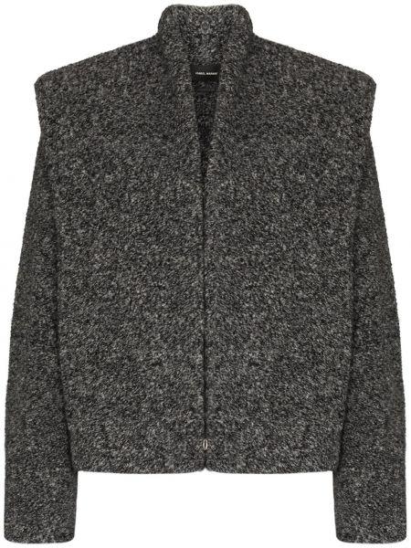 Серая ватная длинная куртка из альпаки Isabel Marant