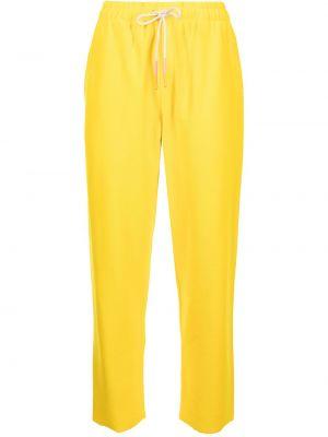 Хлопковые желтые прямые спортивные брюки Mira Mikati