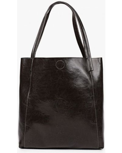 Коричневая сумка шоппер из натуральной кожи снежная королева