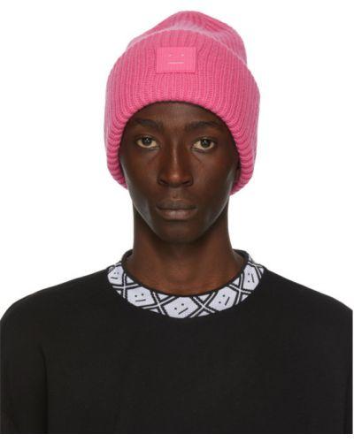Шерстяная розовая шапка бини с вышивкой Acne Studios