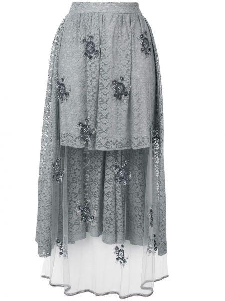 Серая шелковая кружевная юбка Stella Mccartney